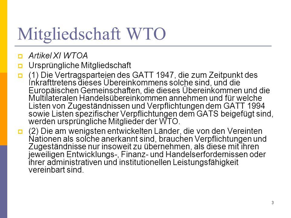 Mitgliedschaft WTO Artikel XI WTOA Ursprüngliche Mitgliedschaft