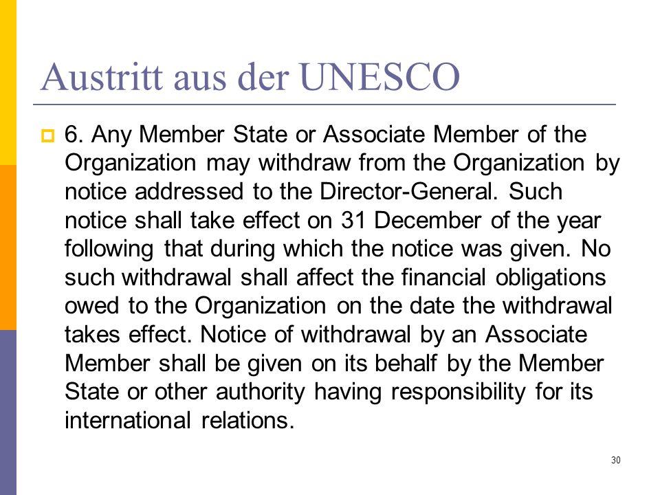 Austritt aus der UNESCO