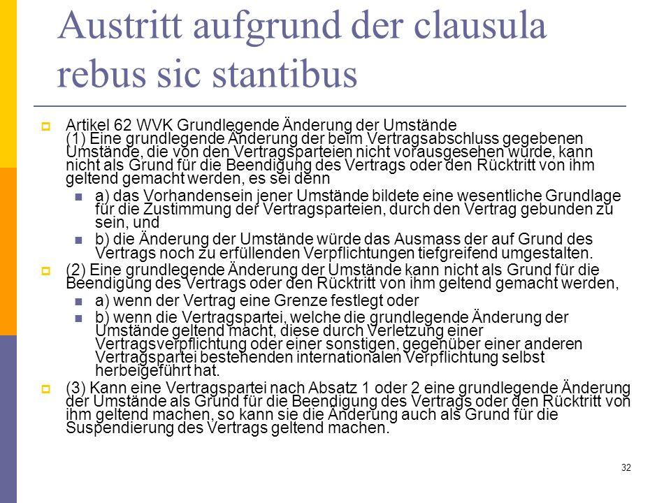 Austritt aufgrund der clausula rebus sic stantibus