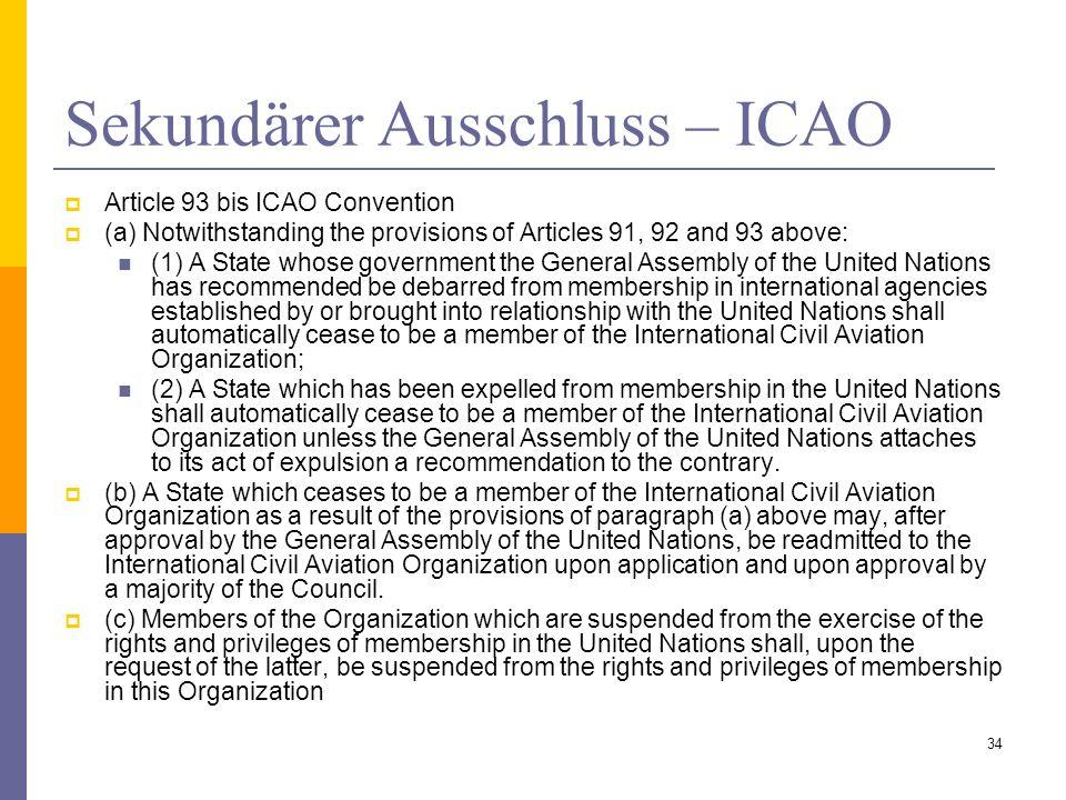 Sekundärer Ausschluss – ICAO
