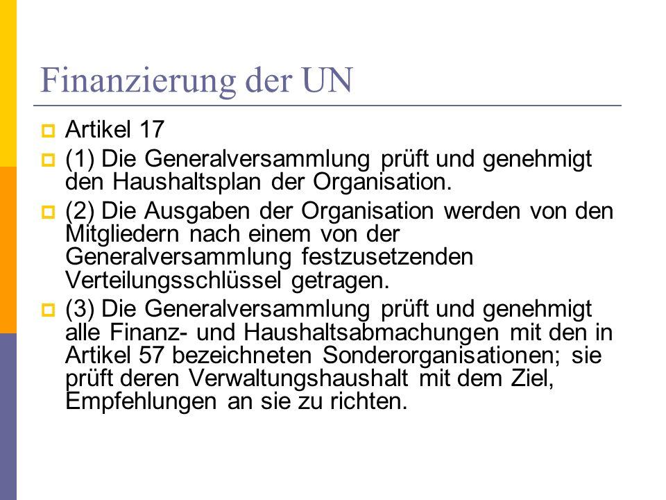 Finanzierung der UN Artikel 17