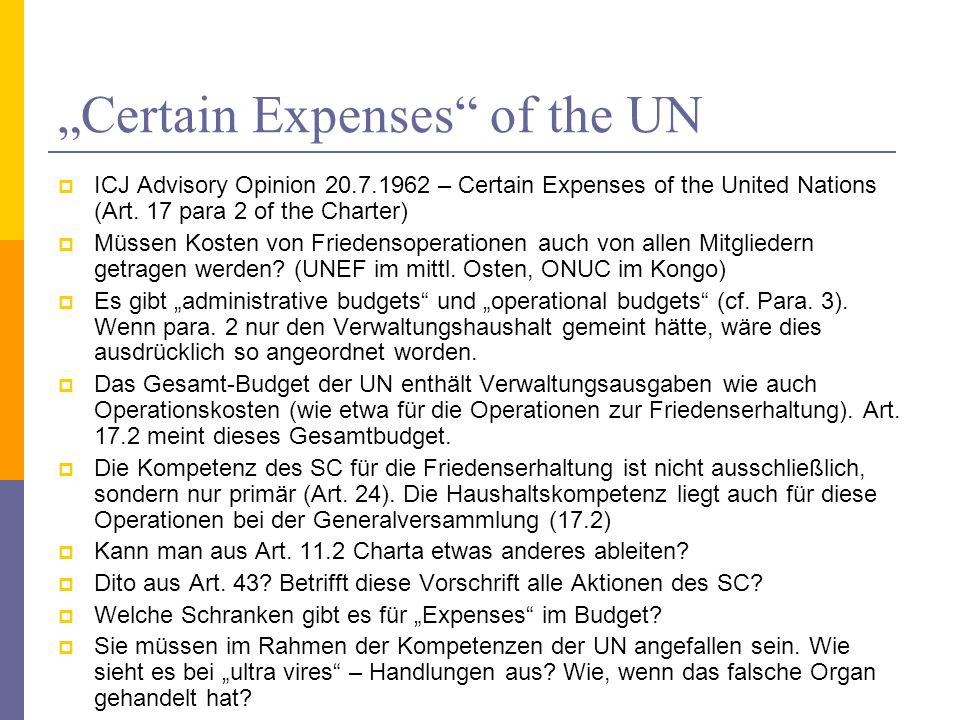 """Certain Expenses of the UN"