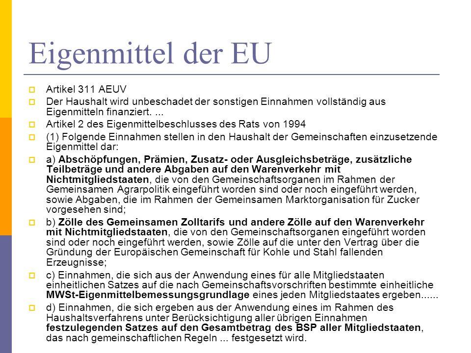 Eigenmittel der EU Artikel 311 AEUV