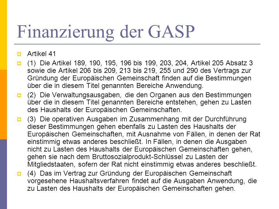 Finanzierung der GASP Artikel 41