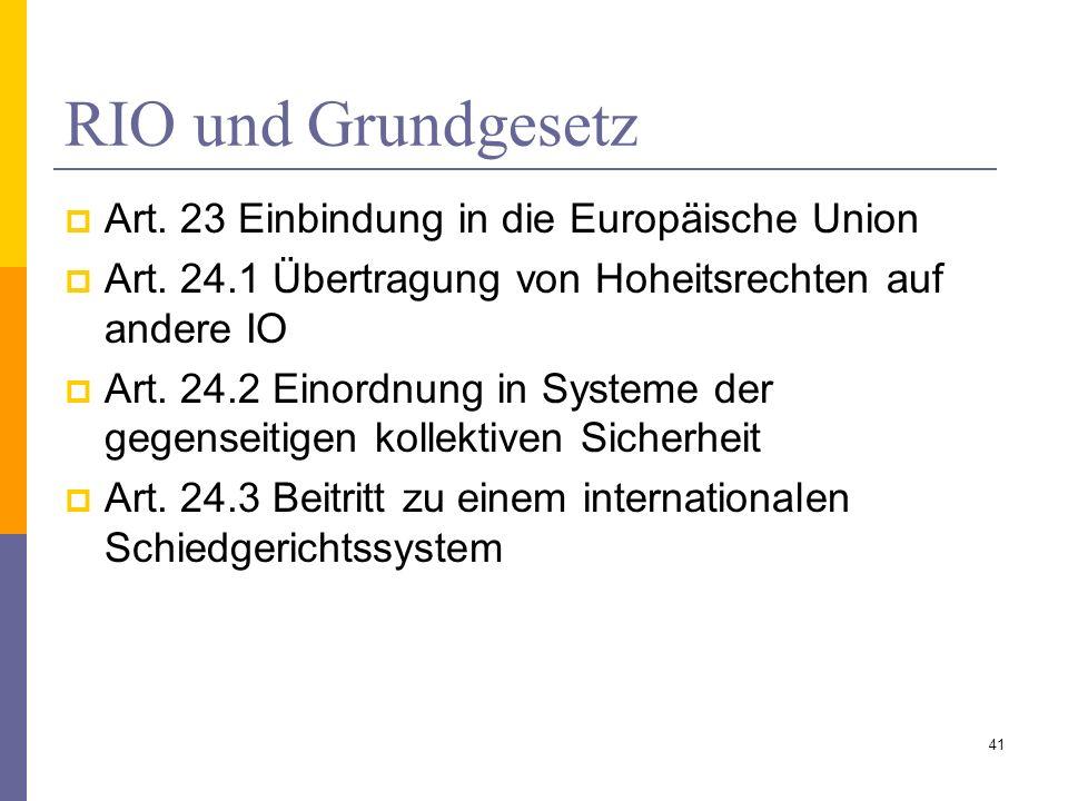 RIO und Grundgesetz Art. 23 Einbindung in die Europäische Union