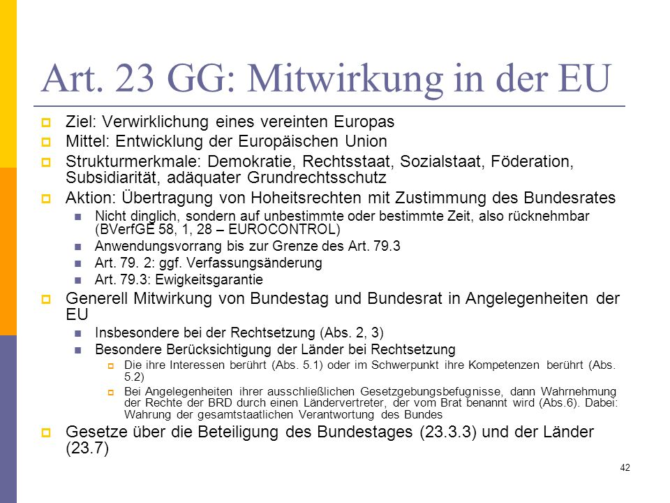 Art. 23 GG: Mitwirkung in der EU
