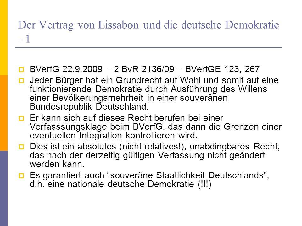 Der Vertrag von Lissabon und die deutsche Demokratie - 1