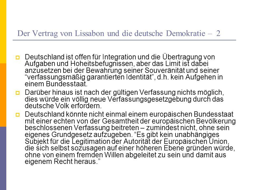 Der Vertrag von Lissabon und die deutsche Demokratie – 2