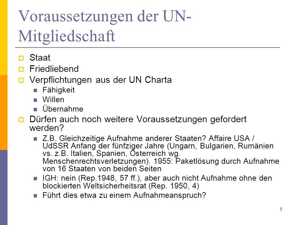 Voraussetzungen der UN-Mitgliedschaft