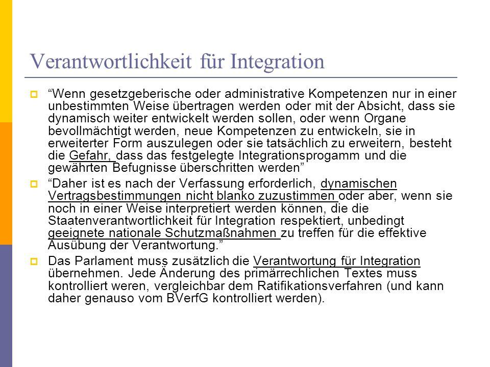 Verantwortlichkeit für Integration
