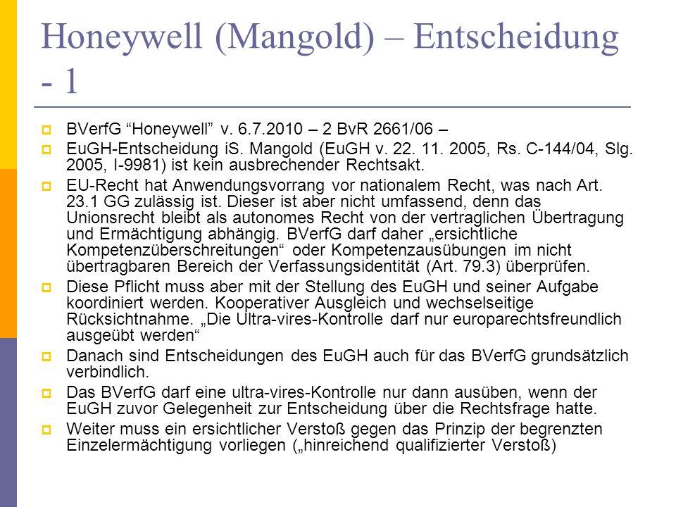 Honeywell (Mangold) – Entscheidung - 1