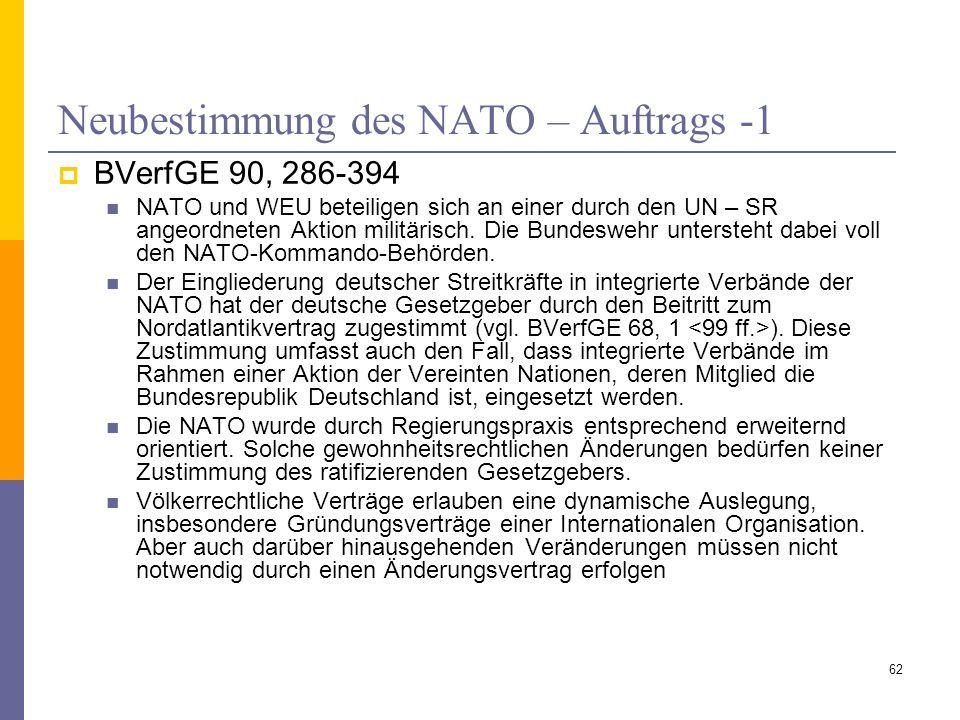 Neubestimmung des NATO – Auftrags -1