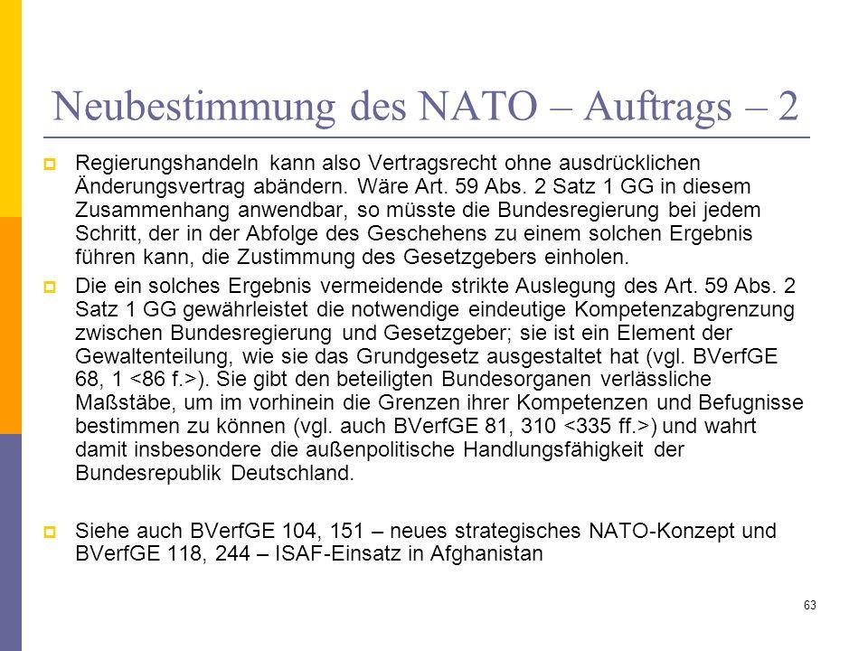 Neubestimmung des NATO – Auftrags – 2