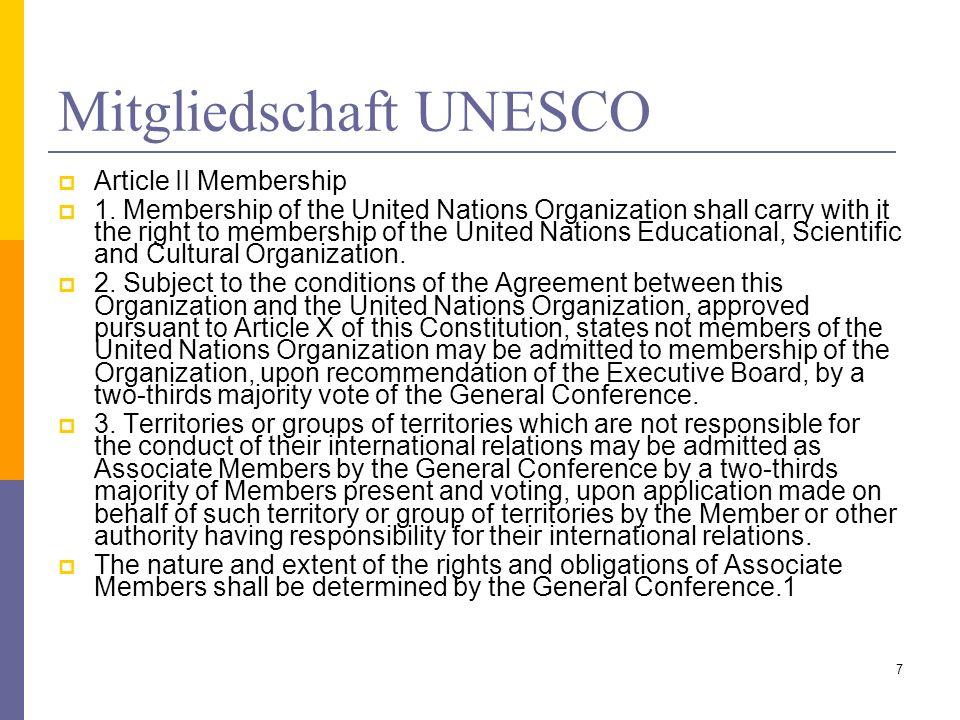 Mitgliedschaft UNESCO