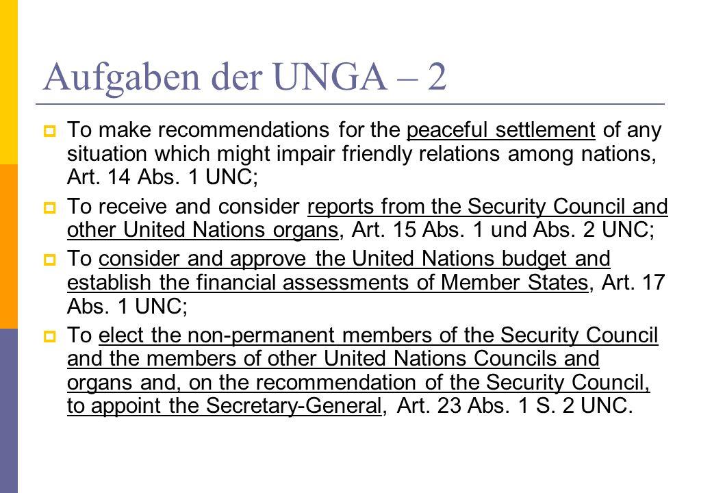 Aufgaben der UNGA – 2