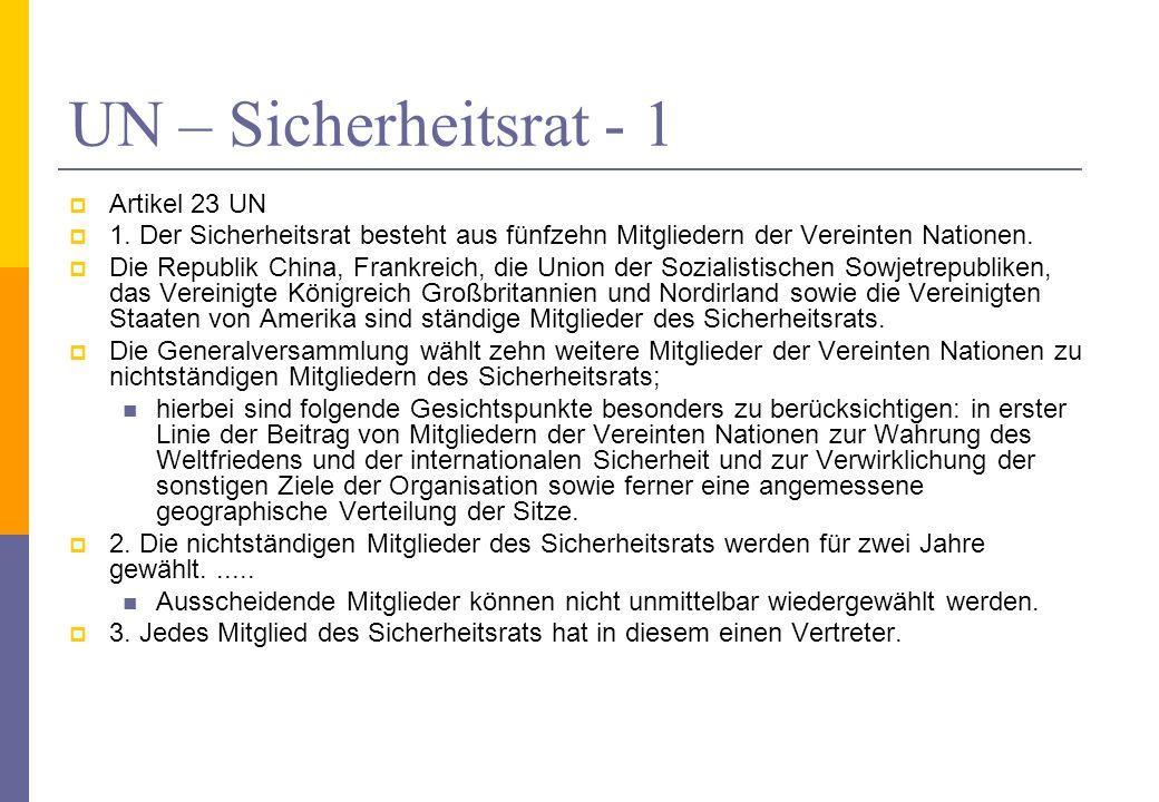 UN – Sicherheitsrat - 1 Artikel 23 UN
