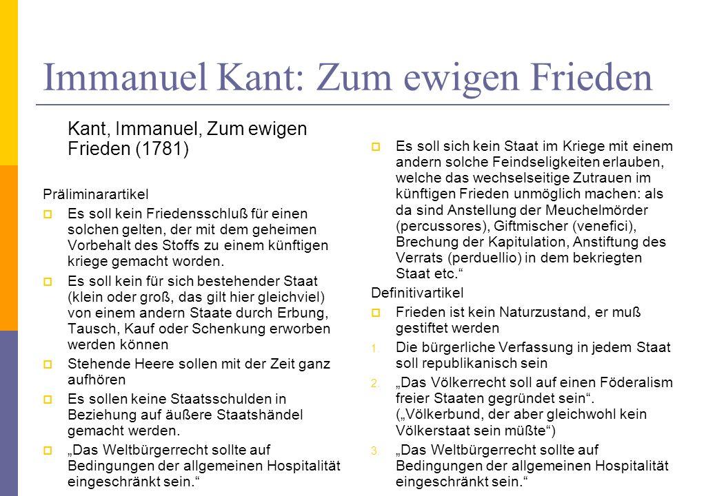 Immanuel Kant: Zum ewigen Frieden