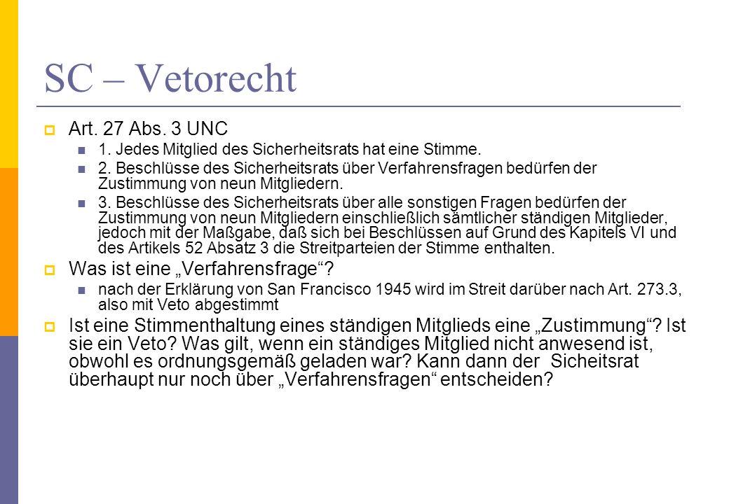 """SC – Vetorecht Art. 27 Abs. 3 UNC Was ist eine """"Verfahrensfrage"""