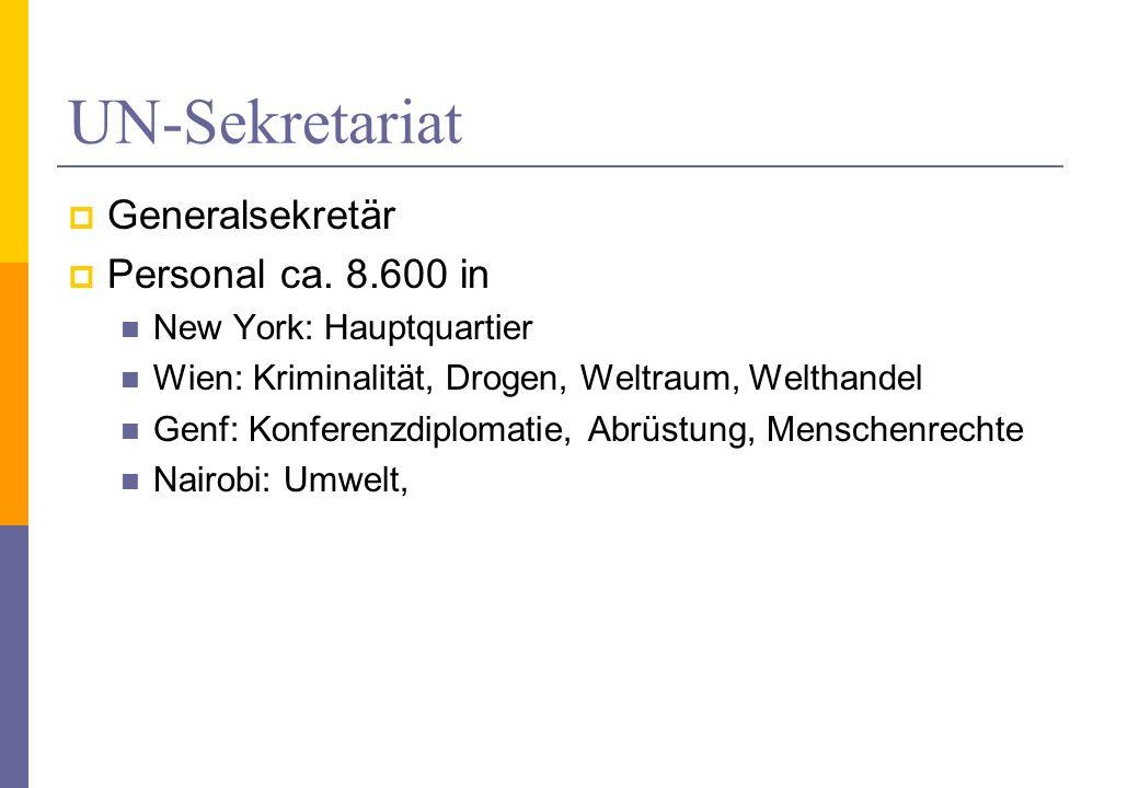 UN-Sekretariat Generalsekretär Personal ca. 8.600 in