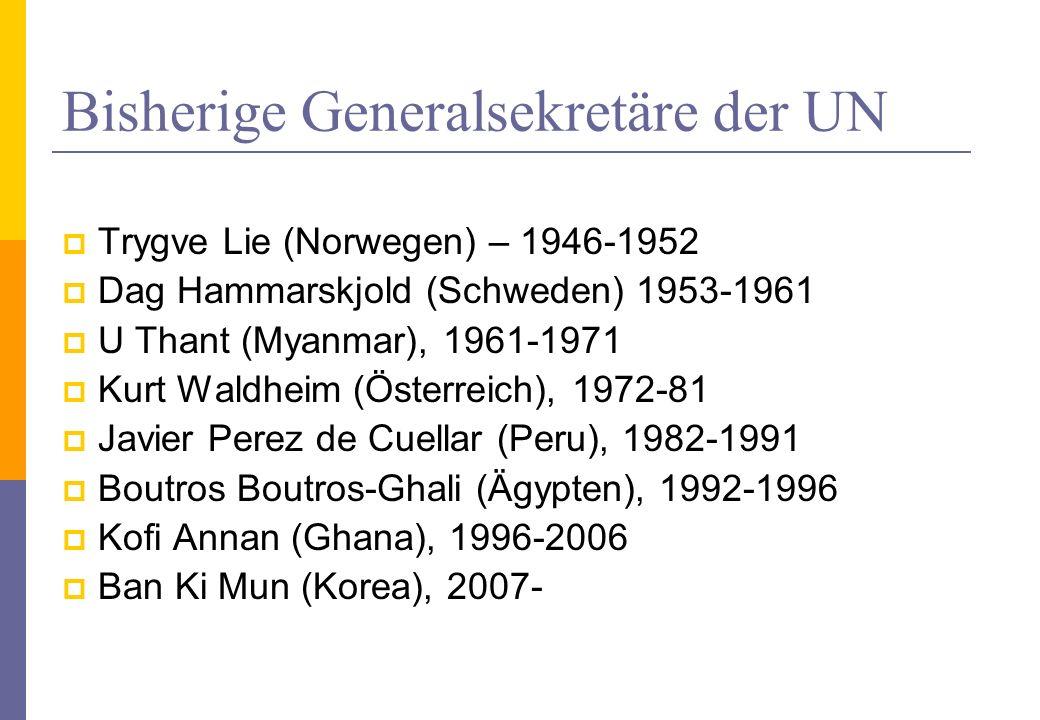 Bisherige Generalsekretäre der UN