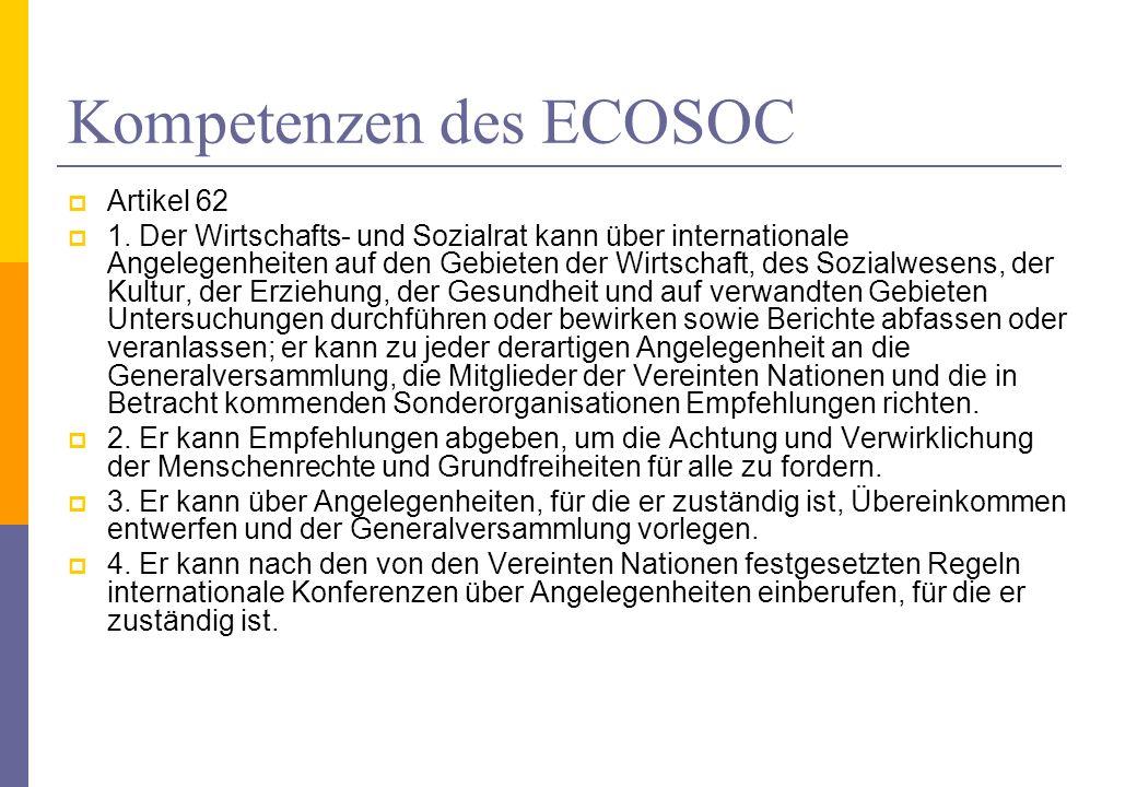 Kompetenzen des ECOSOC