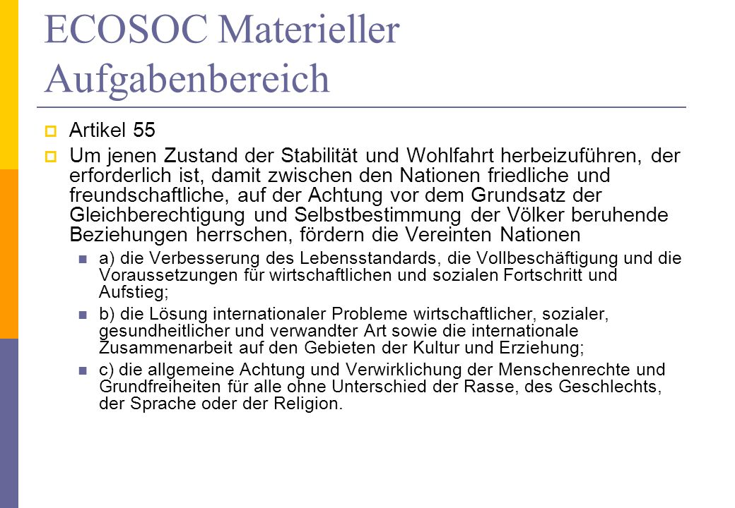 ECOSOC Materieller Aufgabenbereich
