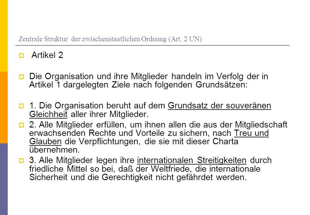 Zentrale Struktur der zwischenstaatlichen Ordnung (Art. 2 UN)