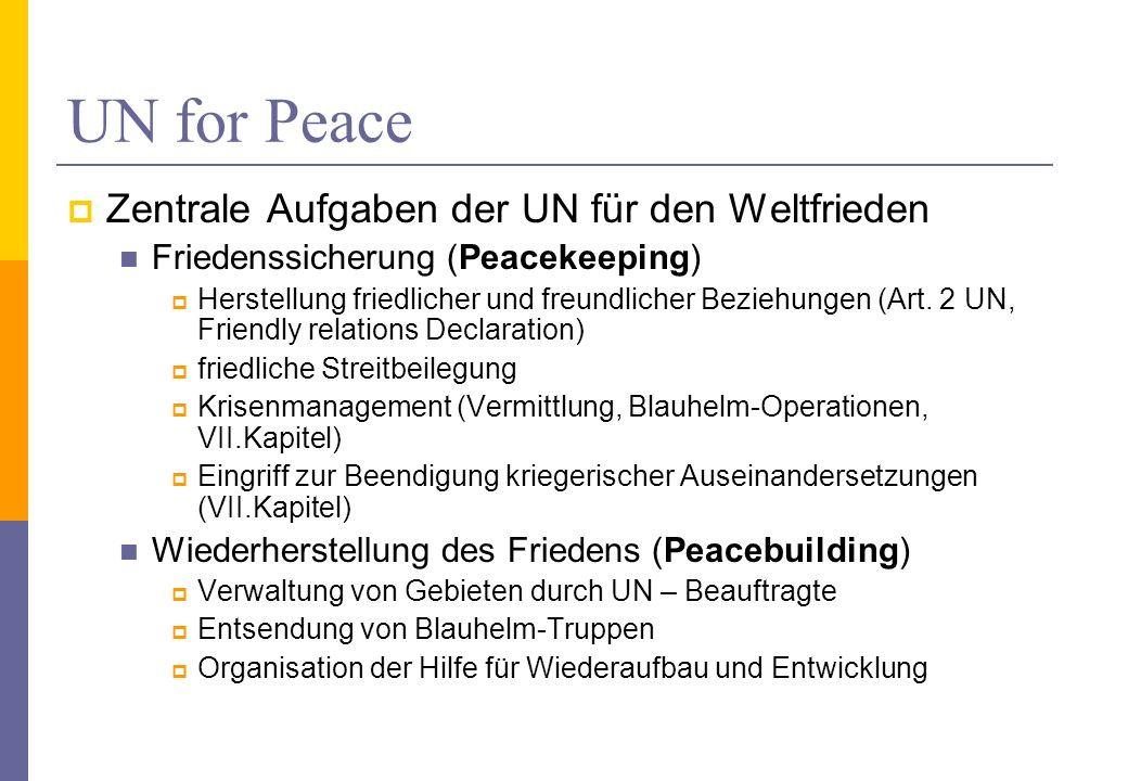 UN for Peace Zentrale Aufgaben der UN für den Weltfrieden