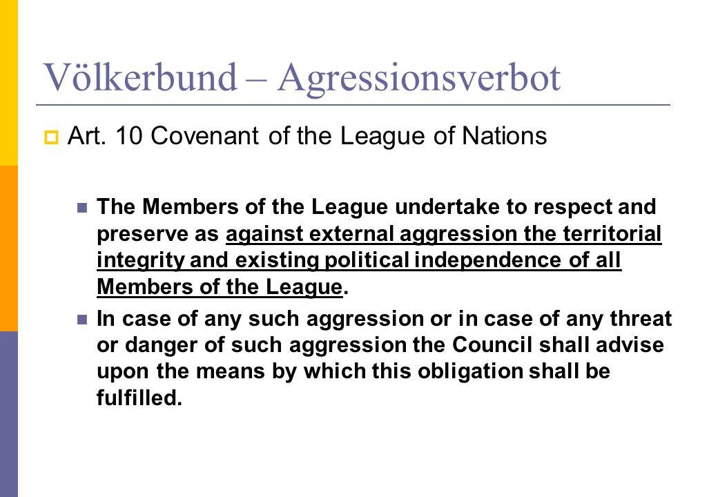 Völkerbund – Agressionsverbot