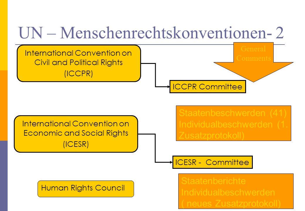 UN – Menschenrechtskonventionen- 2