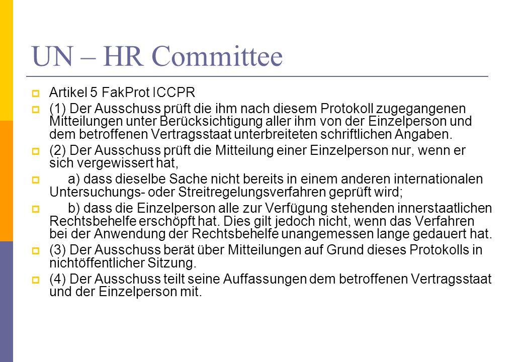 UN – HR Committee Artikel 5 FakProt ICCPR