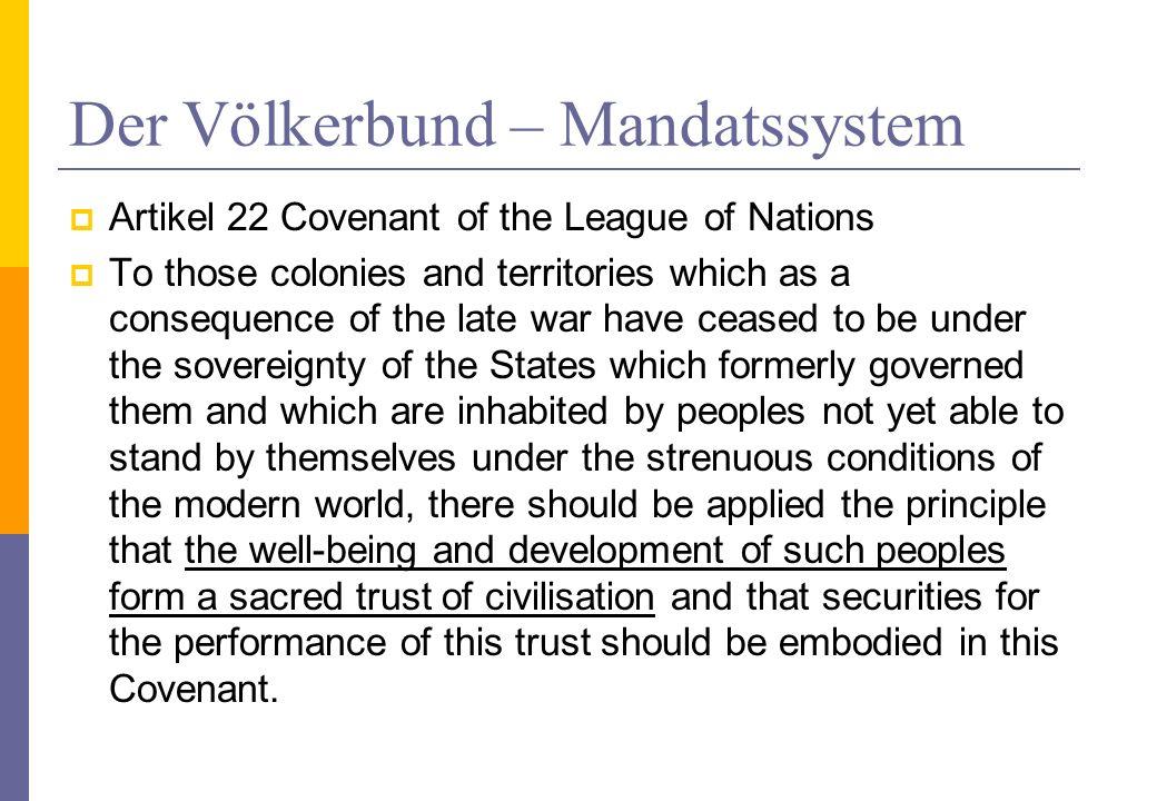 Der Völkerbund – Mandatssystem