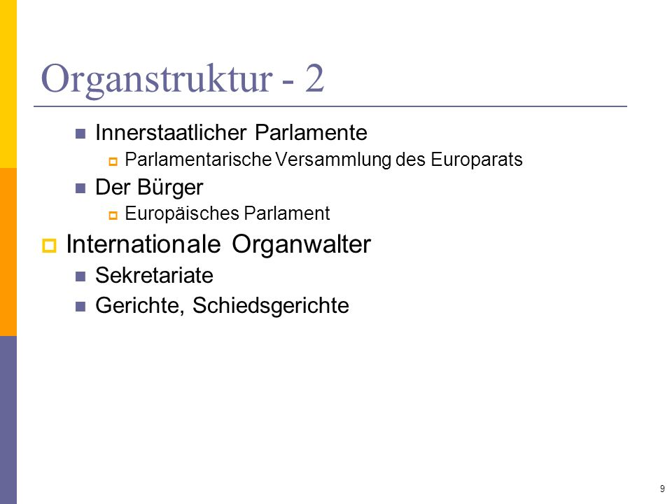 Organstruktur - 2 Internationale Organwalter