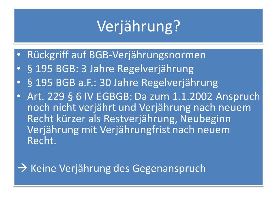 Verjährung Rückgriff auf BGB-Verjährungsnormen