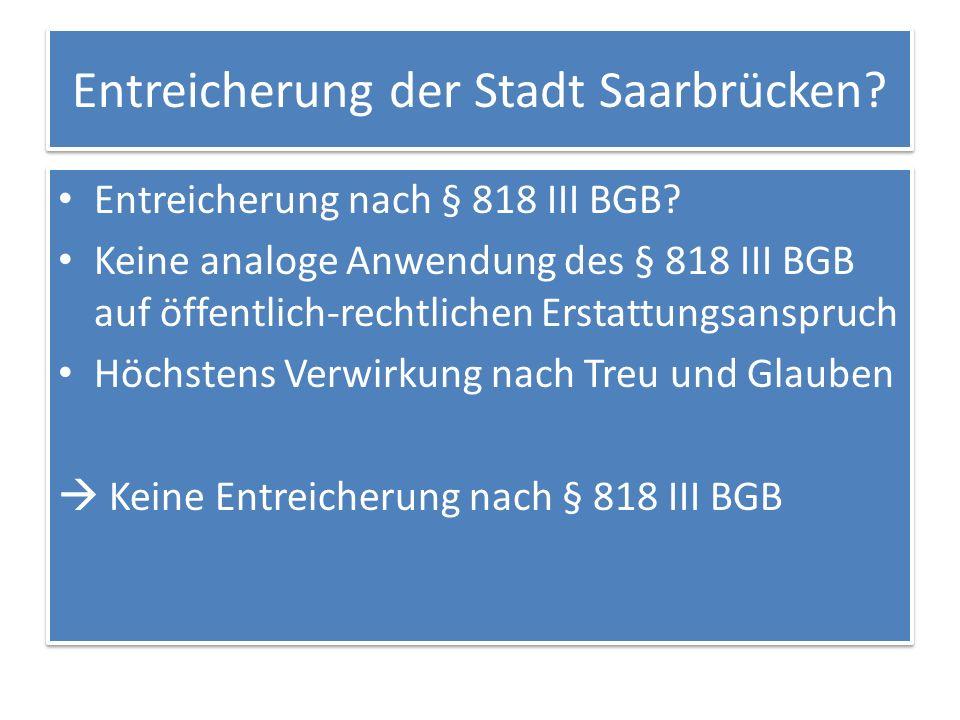 Entreicherung der Stadt Saarbrücken