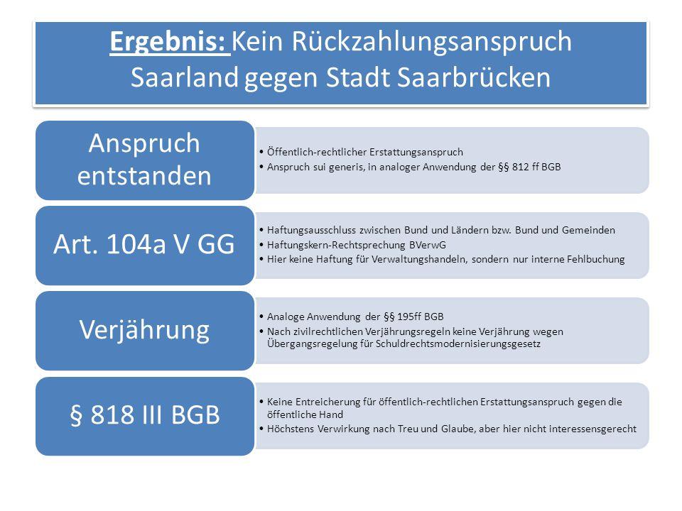 Ergebnis: Kein Rückzahlungsanspruch Saarland gegen Stadt Saarbrücken