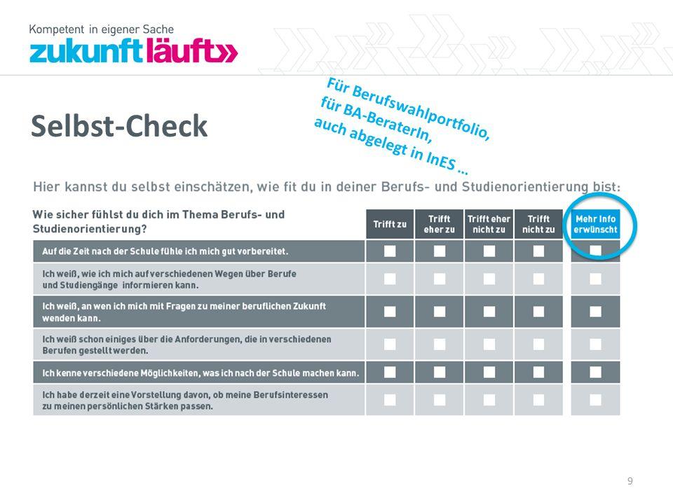 Selbst-Check Für Berufswahlportfolio, für BA-BeraterIn,