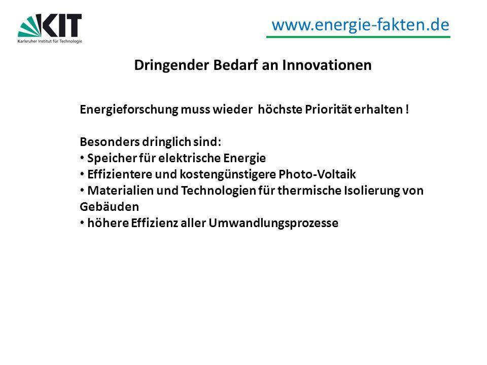 Dringender Bedarf an Innovationen