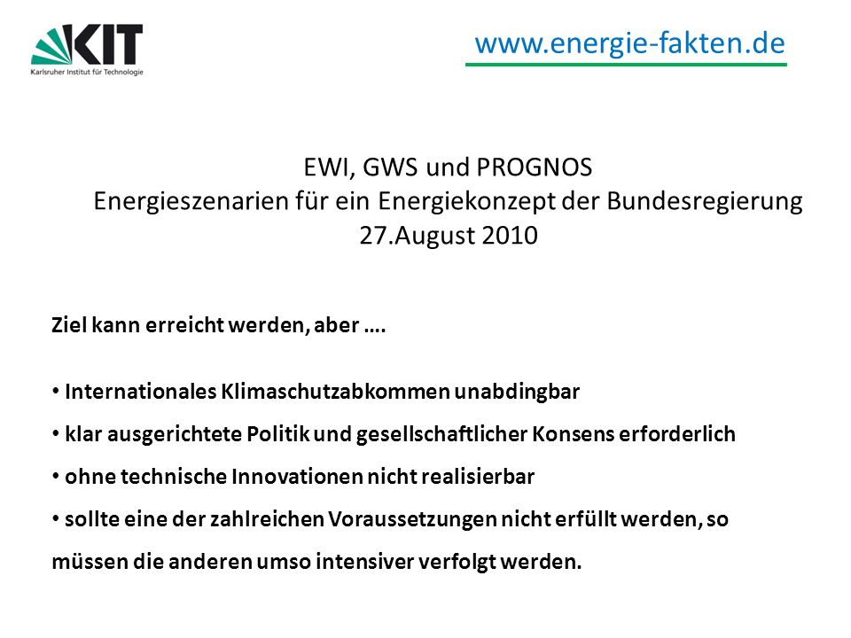 Energieszenarien für ein Energiekonzept der Bundesregierung