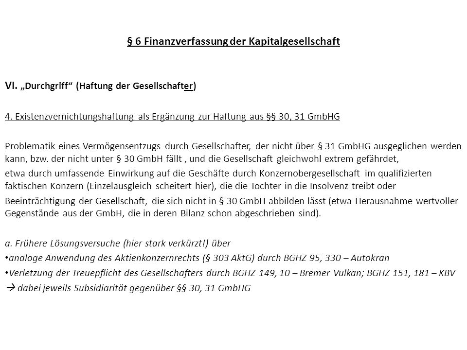 § 6 Finanzverfassung der Kapitalgesellschaft