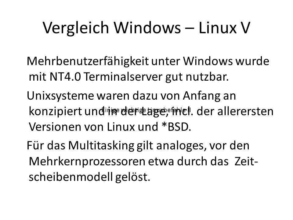 Vergleich Windows – Linux V