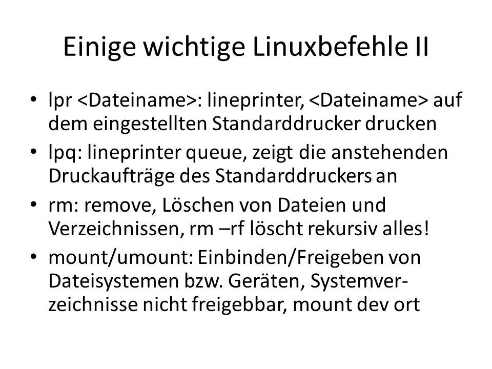 Einige wichtige Linuxbefehle II