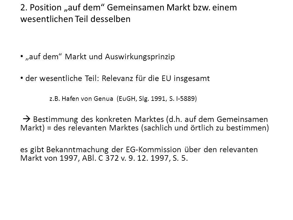 """2. Position """"auf dem Gemeinsamen Markt bzw"""