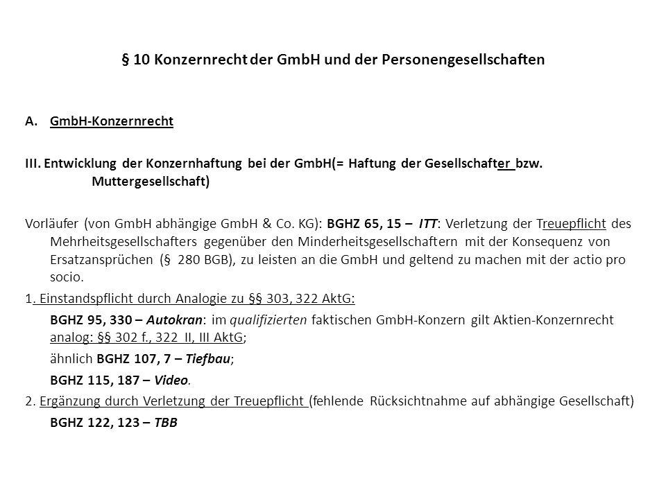 § 10 Konzernrecht der GmbH und der Personengesellschaften