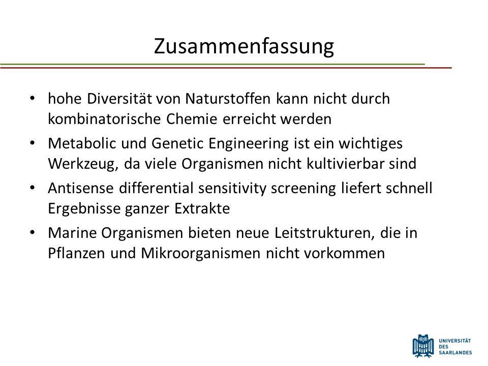 Zusammenfassung hohe Diversität von Naturstoffen kann nicht durch kombinatorische Chemie erreicht werden.