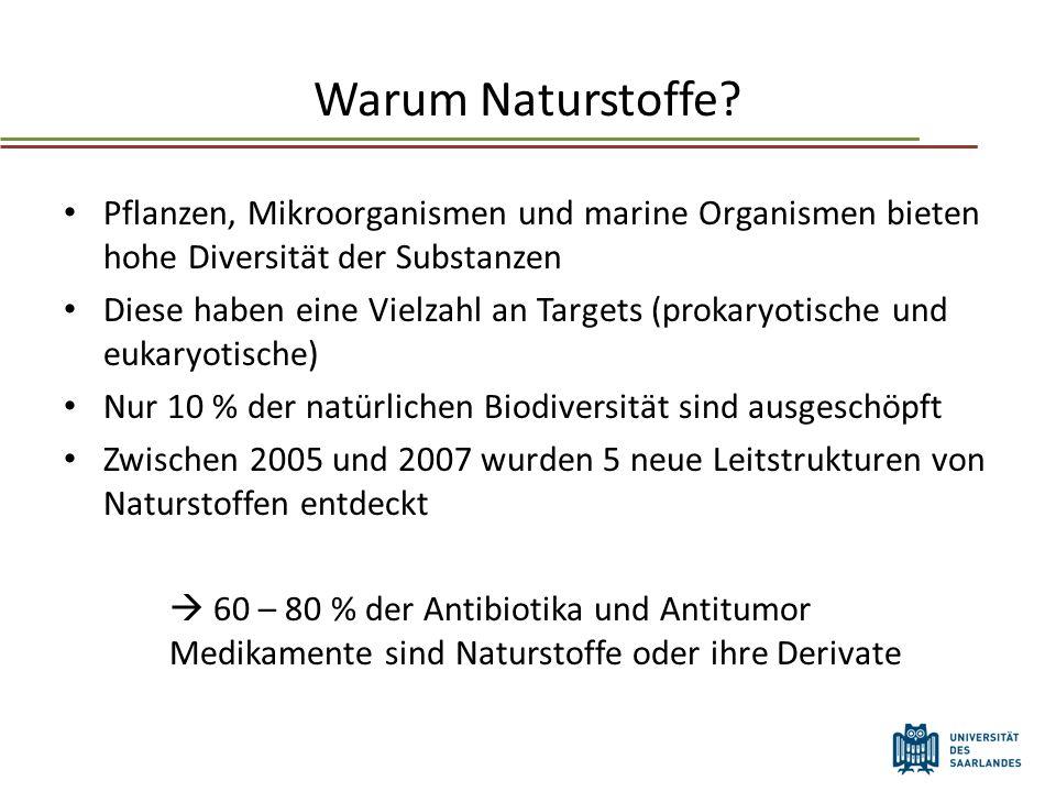 Warum Naturstoffe Pflanzen, Mikroorganismen und marine Organismen bieten hohe Diversität der Substanzen.