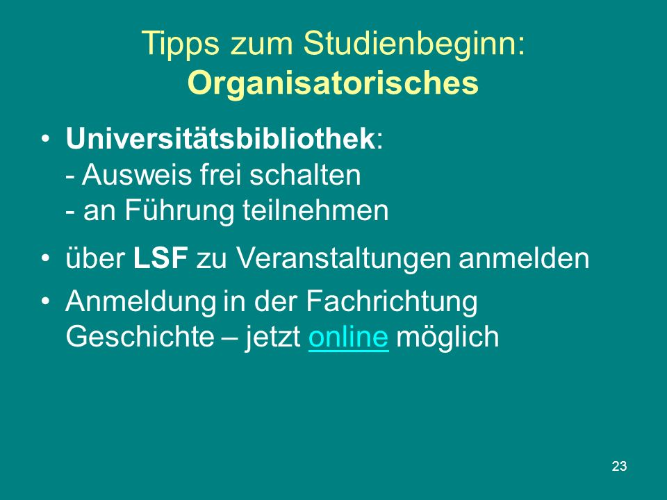 Tipps zum Studienbeginn: Organisatorisches
