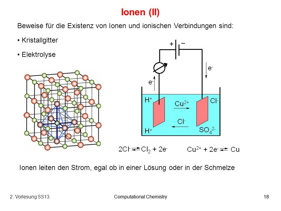 Ionen (II) Beweise für die Existenz von Ionen und ionischen Verbindungen sind: Kristallgitter. Elektrolyse.