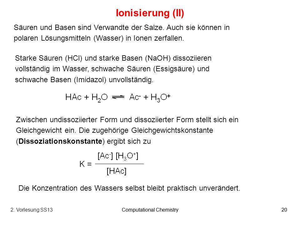 Ionisierung (II) Säuren und Basen sind Verwandte der Salze. Auch sie können in polaren Lösungsmitteln (Wasser) in Ionen zerfallen.