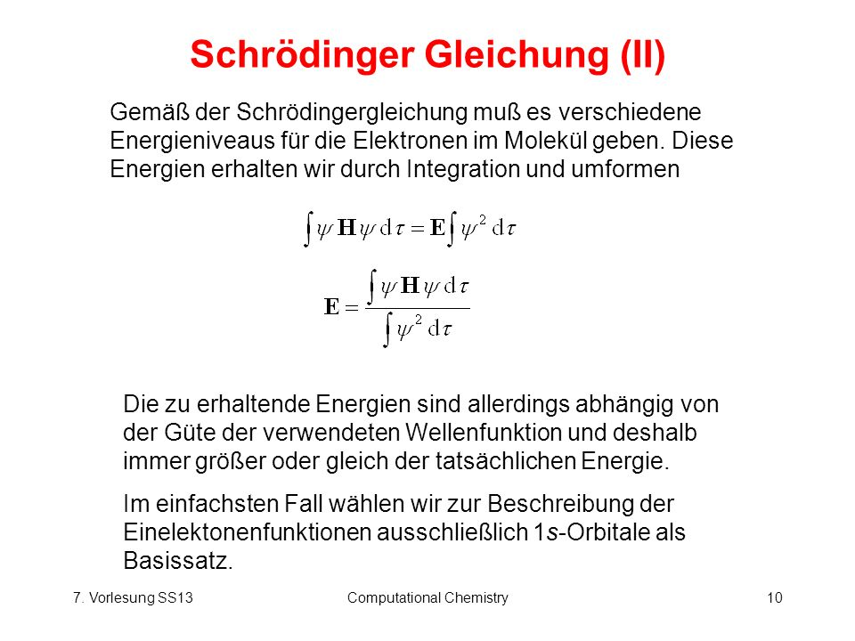 Schrödinger Gleichung (II)